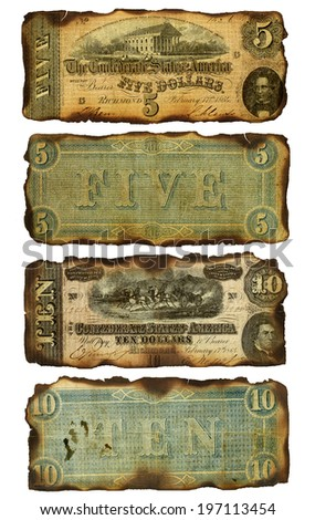 The front and back of two antique five and ten dollar bills that have been burned around the edges. Printed by the Confederate states (United States) in 1864 during the Civil War. Isolated on white.  - stock photo