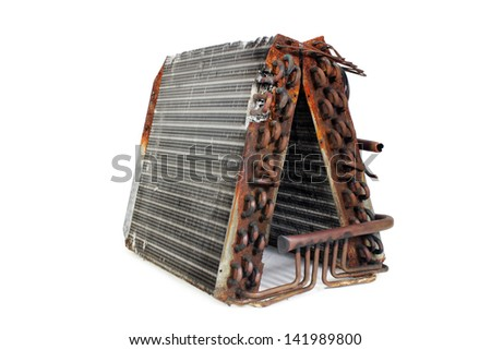 The front angle of an old A-frame evaporator coil taken from a 2.5-ton residential r22 straight capillary system. - stock photo