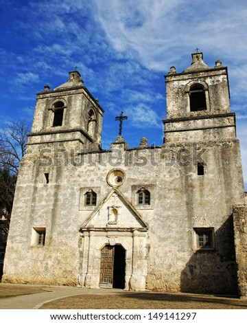 The front of the historic Mission Concepcion near San Antonio, TX, USA - a Spanish mission built in the 1700's.