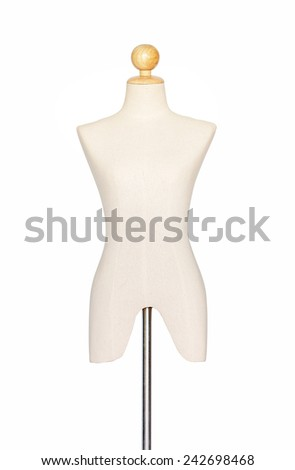 The front of the mannequin or dressmakers dummy on white background,, (with clipping path) - stock photo