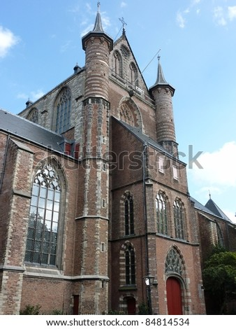 The front of the Saint Peter church (St Pieterskerk) in Leiden in the Netherlands