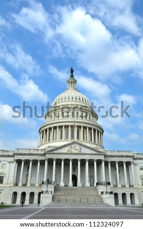 The front of The United States Capitol in Washington D. C.