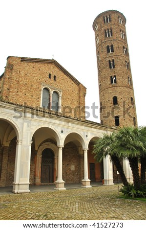 the front of the 1500 year UNESCO listed saint apollinaris church with tower
