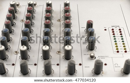 The front panel of the mixer