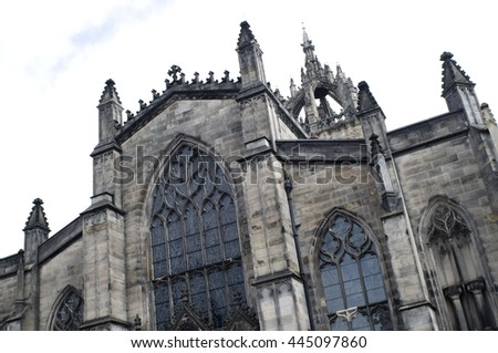 The front stone facade and main entrance of the St. Giles Cathedral in Edinburgh, Scotland.