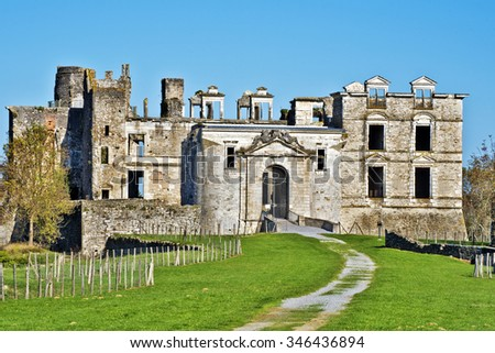 The front view of ruins of Bidache castle, called also Chateau des ducs de Gramont, situated in Bidach village in Basse Navarre of French Basque country in Atlantic Pyrenees.
