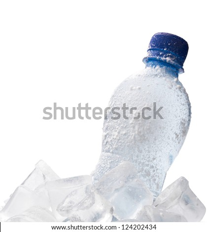 the frozen bottle with water on a white background - stock photo