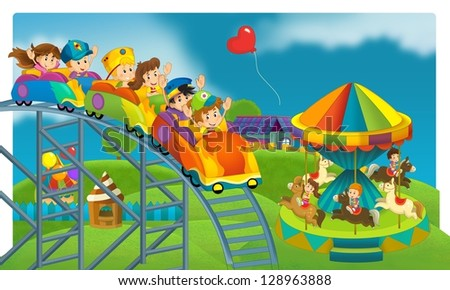 The funfair - playground - illustration for the children