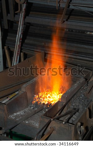 the furnace of a blacksmith