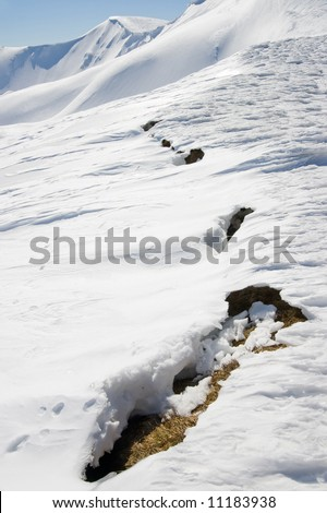 The future danger avalanche signs on spring mountainside (Ukraine, Carpathian Mt's, Svydovets Range, Blyznycja Mount)