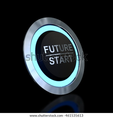 The Future is Sarting Now - round button - 3d render