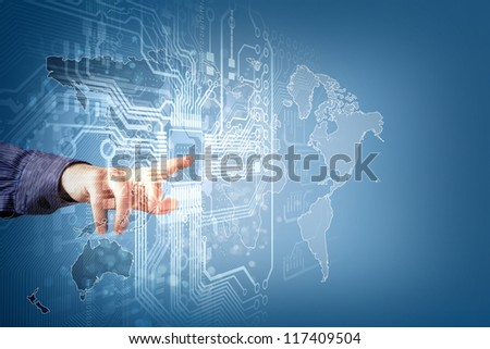 The future technology. touch button inerface illustration - stock photo