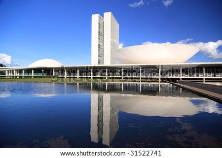 The Futuristic Brazilian Congress Buildings - stock photo