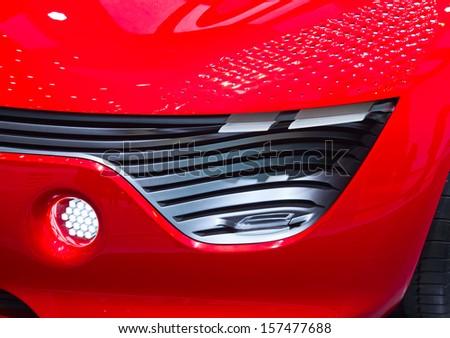 The futuristic concept car on display - stock photo