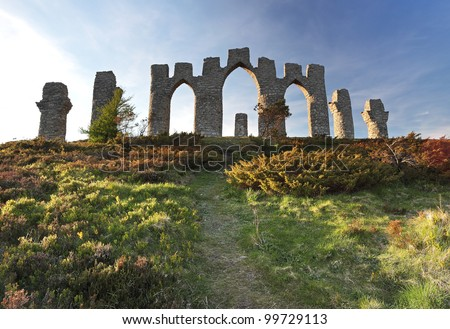 The Fyrish monument from fyrish hill in Evanton, Scotland