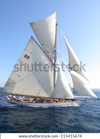 The Gaff Cutter has a mainsail with four-side with a usually wooden spar, known as the gaff, along its head. There are two or more headsails.