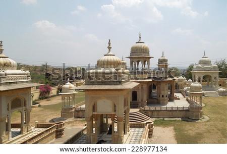 the Gaitore Cenotaphs Jaipur (rajasthan, India - stock photo