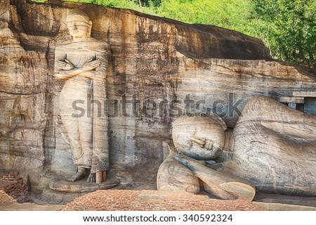 The Gal Vihara in the world heritage city Polonnaruwa, Sri Lanka.  - stock photo