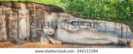 The Gal Vihara in the world heritage city Polonnaruwa, Sri Lanka. Panorama - stock photo