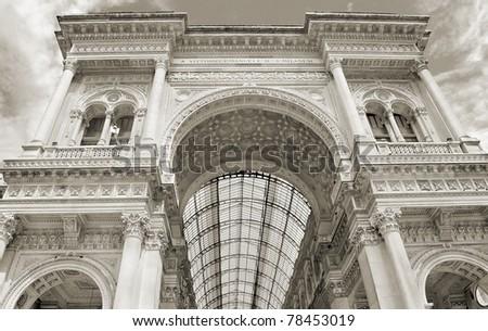 The Galleria Vittorio Emanuele in Milano, Italia. - stock photo