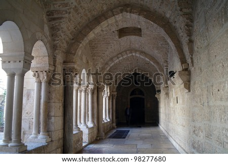The gallery of the Church of Nativity, Bethlehem