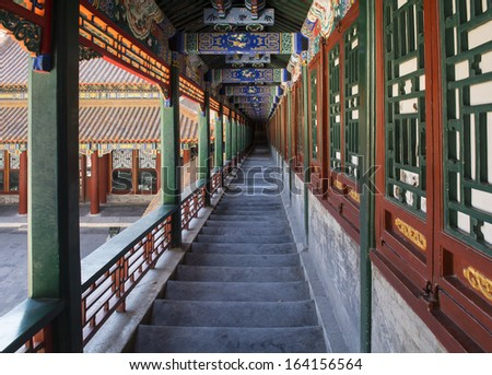 The Gallery of the  Tower of Buddhist Incense in Summer Palace of Beijing, China.