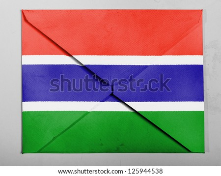 The Gambia Flag  painted on grey envelope