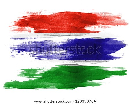 The Gambia Flag painted on white paper with watercolor