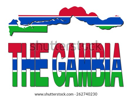 The Gambia map flag and text illustration - stock photo