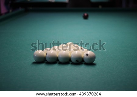 The game of billiards on a table with green cloth and billiard balls