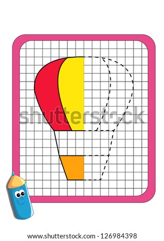 the game of the symmetry, hot-air balloon - stock photo