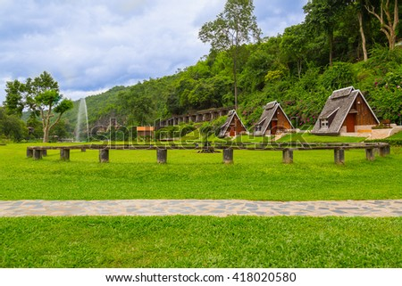 The garden and camping near Quare river, Thailand - stock photo