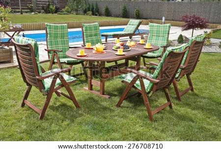 The Garden furniture by the pool - stock photo
