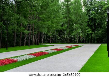 The garden walkways - stock photo