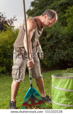 The gardener finished his clean job in his garden.