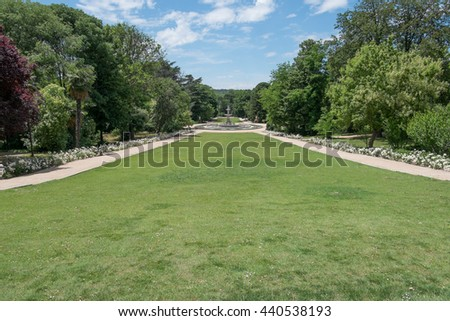 The gardens around the Royal Palace of Madrid, Spain