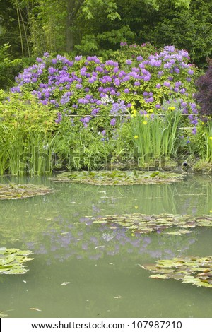 The Gardens at Giverny with reflections of flowers in pond, Giverny, France