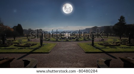 The gardens at Trentham, Staffordshire, England, photographed by the light of a full moon. - stock photo