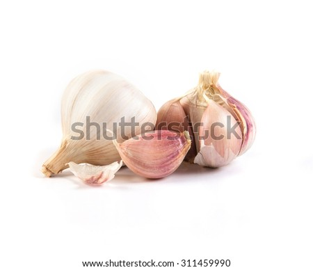 the garlic on white background - stock photo