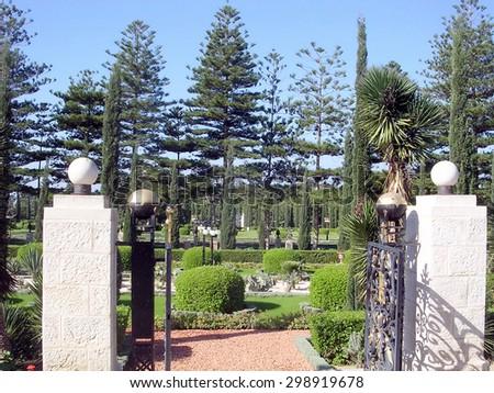 The gate in Bahai garden near Akko, Israel                - stock photo