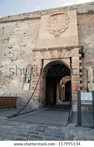 The gate in the old city of Ibiza - Eivissa. Spain, Balearic islands