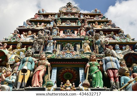 The Gate of Hindu temple in Singapore