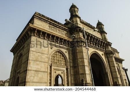 the gate of india, in mumbai - stock photo