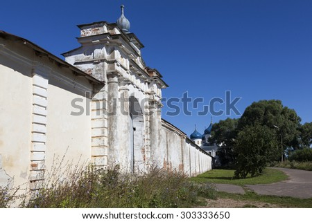 The gate of the fence Holy Monastery of St. George. Velikiy Novgorod. Russia. - stock photo