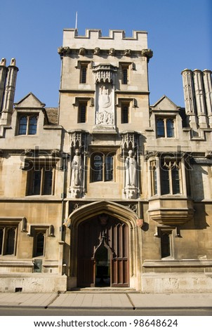 The Gate Tower entrance to All Souls College, Oxford.  Built in 1440, it stands on the city's High Street.