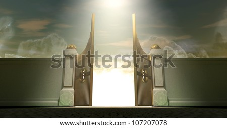 The gates to heaven opening under an ethereal light - stock photo