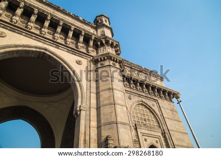 The Gateway of India, a monument built during the British Raj in Mumbai. - stock photo