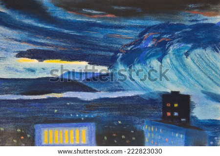 The gathering storm in the afternoon. The pastel drawing - stock photo