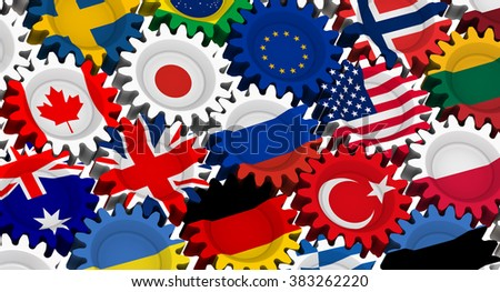 The gears with the flags of different countries. The three-dimensional illustration. Isolated  - stock photo