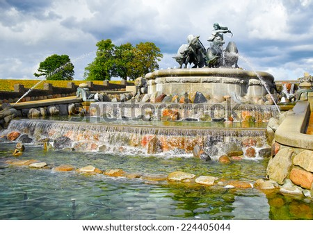 The Gefion Fountain in Copenhagen, Denmark. Gefjun turned her four sons into oxen, and the territory they plowed out of the earth was then thrown into the Danish sea between Scania and island of Fyn - stock photo